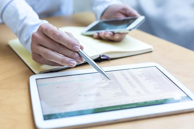 tablet, pen, budget, marketing